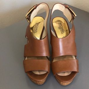Michael Kors brown leather wedges, size 7.